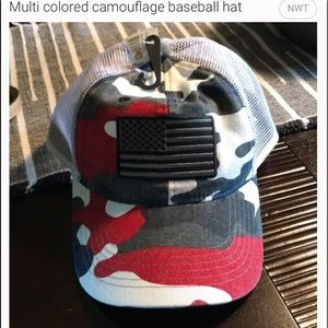 Multicolored camouflage patriotic baseball hat